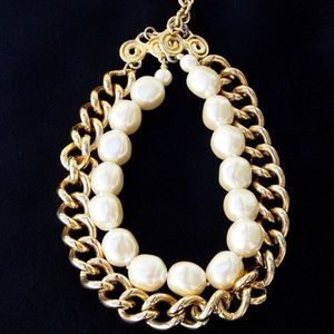 Double Strand Faux Pearl Gold-Tone Necklace